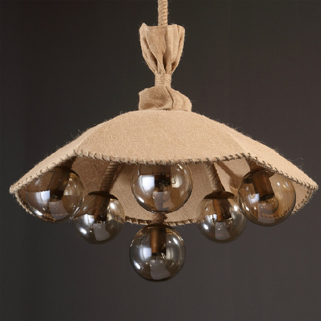 Country Flax UJmbrella and 6 Glass Balls Pendant Lighting