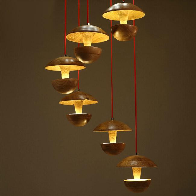 Modern Wood Art LED Pendant Lighting
