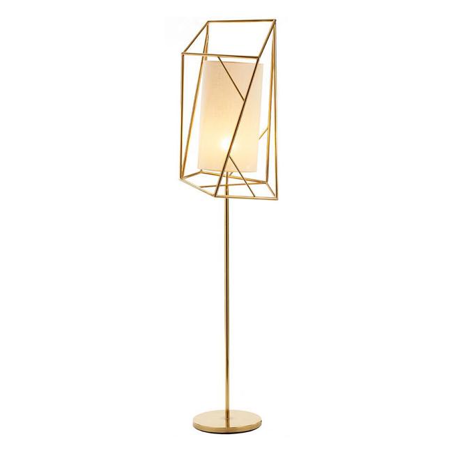 Modern Brass and Flax Shade Floor Lamp