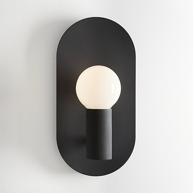 Plate Matte Black Wall Sconce