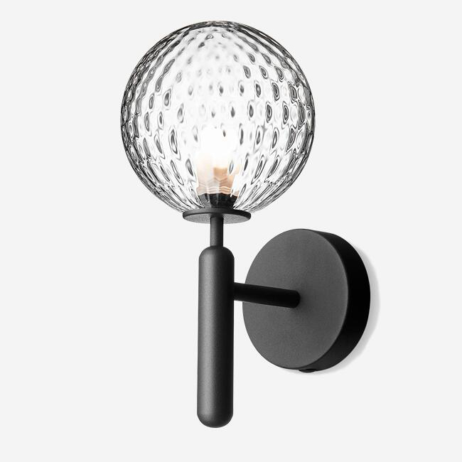 Optic Clear Glass With Unique Embossed Pattern Wall Light