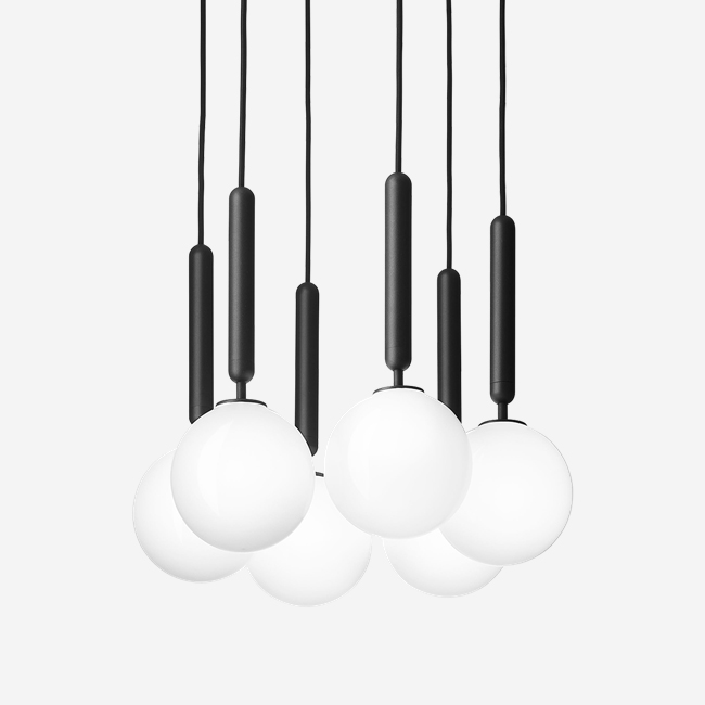 Minimalist 6 Opal White Glass Chandelier
