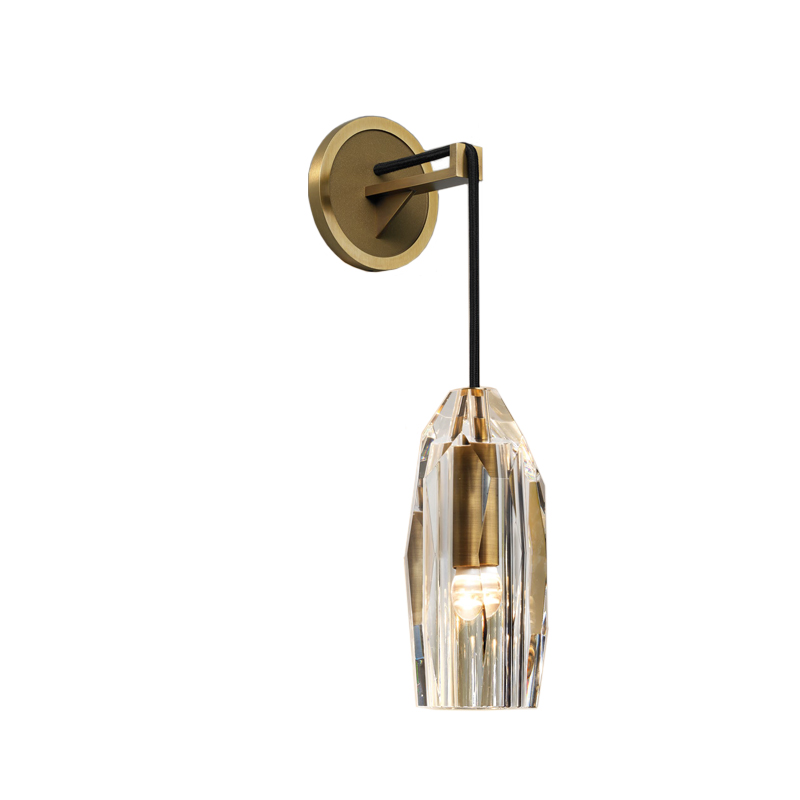 Solid Brass Lead Crystal Shade Wall Light