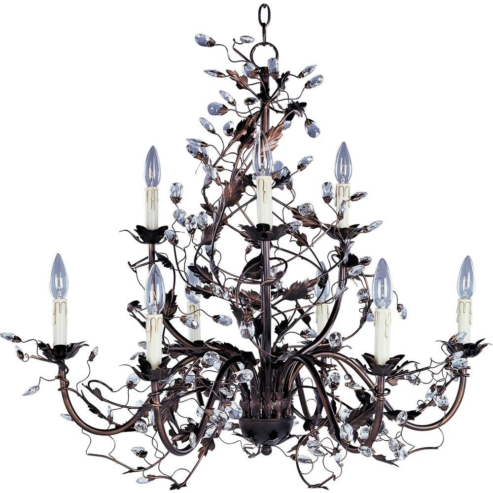 Antique North BOSCH Crystal and Iron Art Chandelier