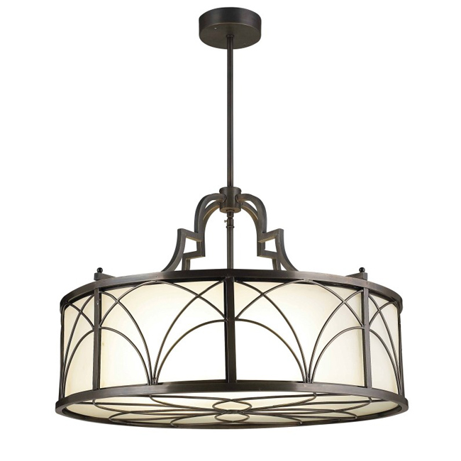 Traditional Copper and Glass Shade Pendant Lighting