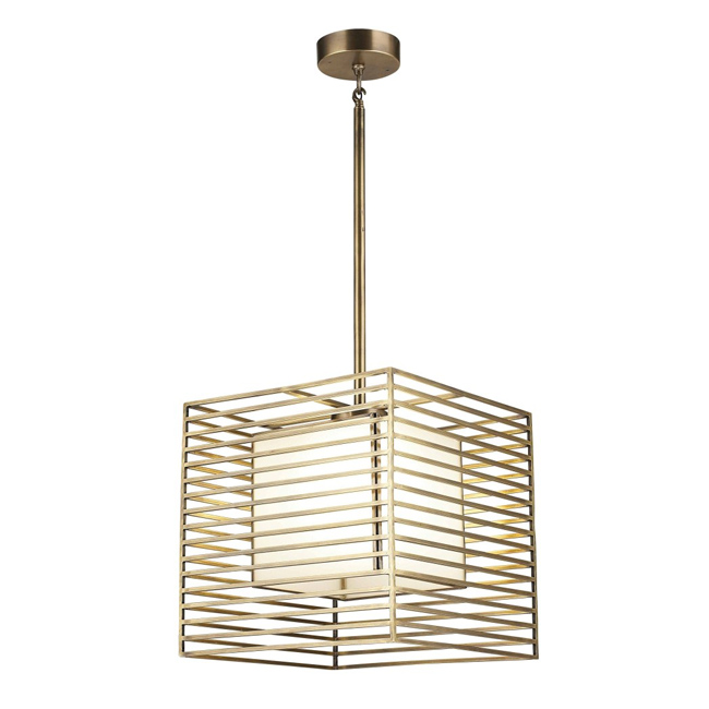 Traditional Copper and Glass Shade Chandelier