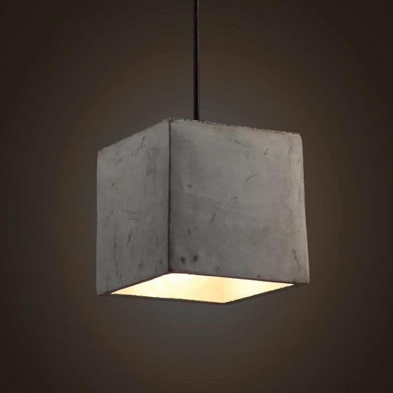 Concrete Cube Pendant Light