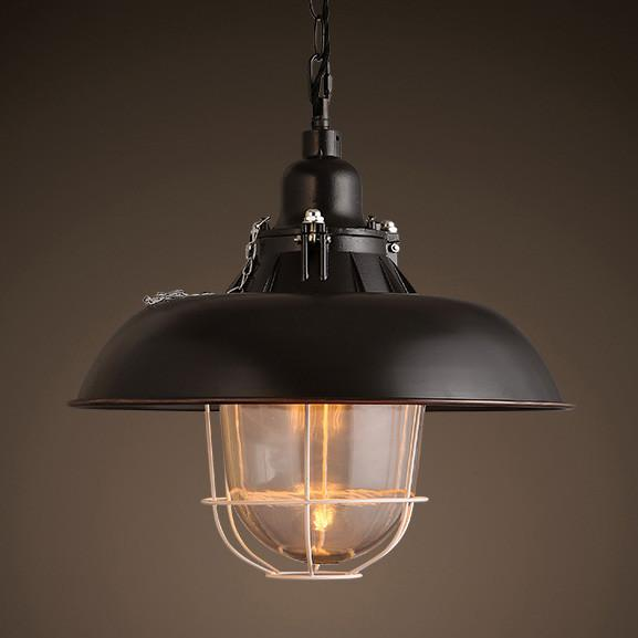 Helmut Glass Shade Industrial Pendant Light (short)