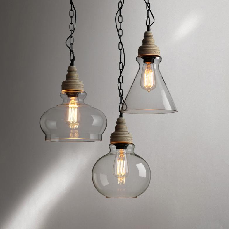 Industrial Modern 3-Light Glass Pendant Light