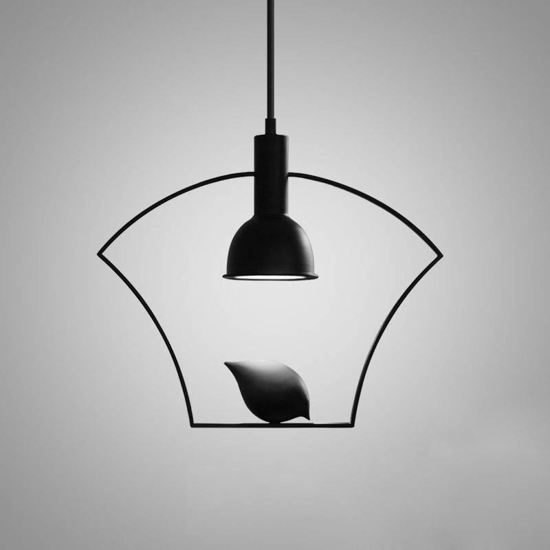 Black Finish Pendant Light Adorned with a Bird
