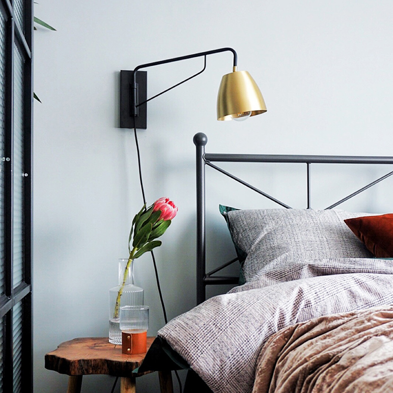 1 Light Plug-in Wall Sconce in Brass and Black for Bedside