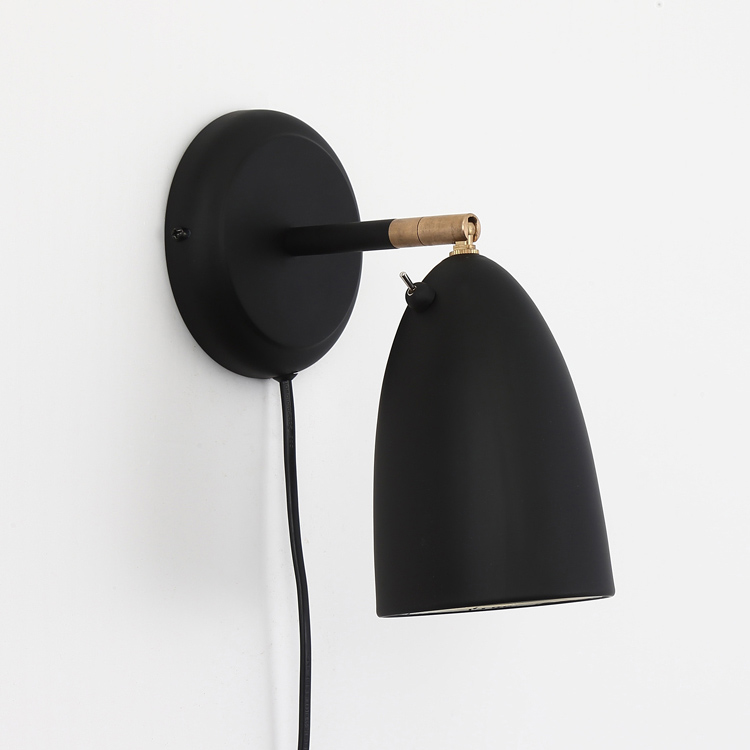 Scandinavian Style 1 Light Plug-in Rotatable Wall Sconce in Black