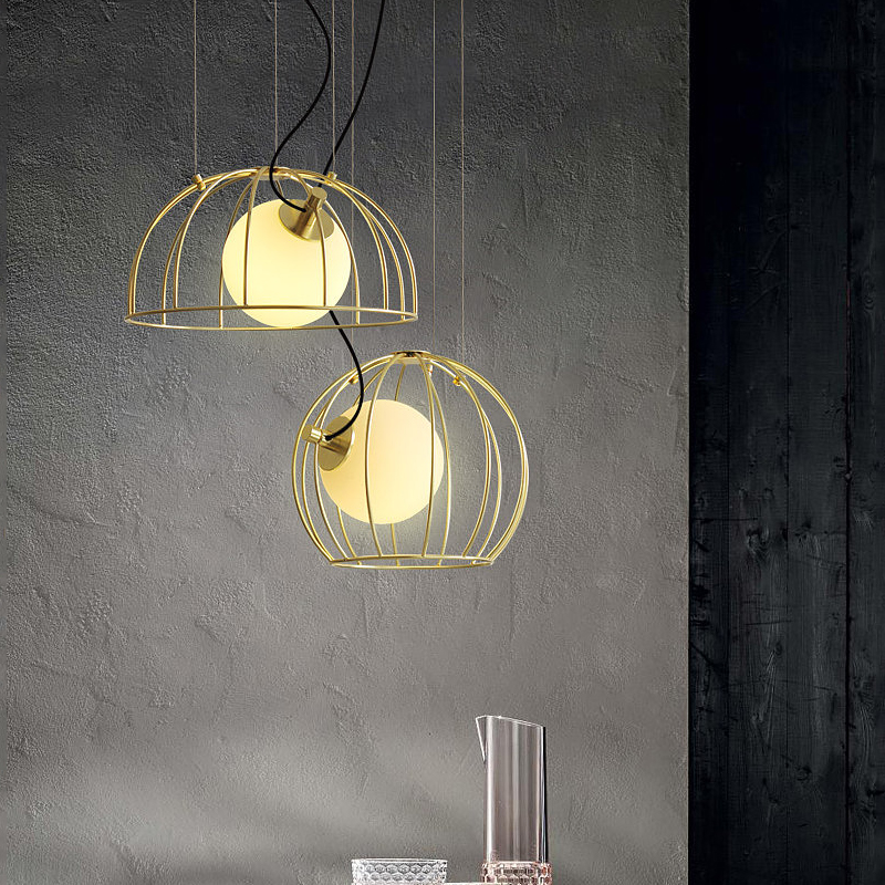 1 Light Golden Cage Hanging Pendant Light with Hand-Blown Glass Globe