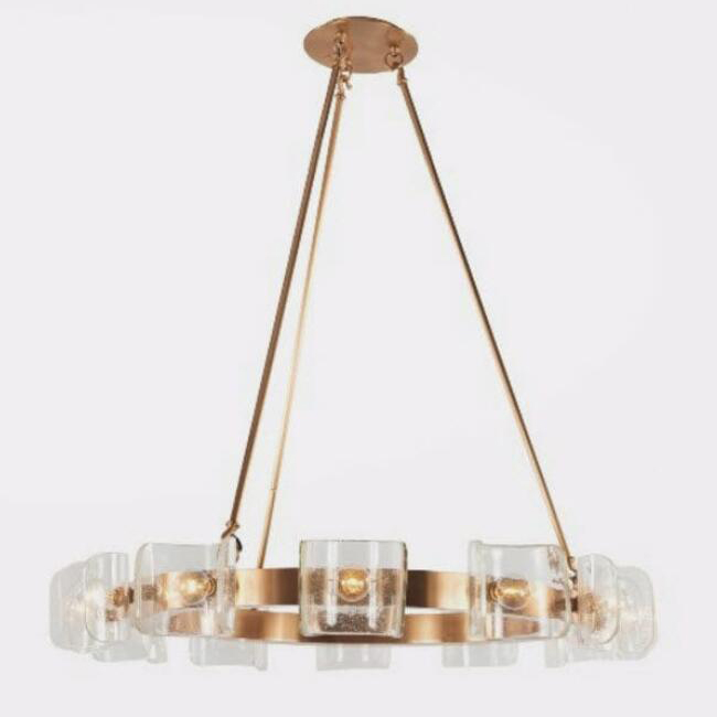 HELIOS Brass Glass Chandelier