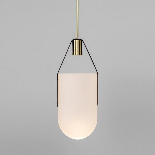 Well Glass and Leather Pendant Lighting