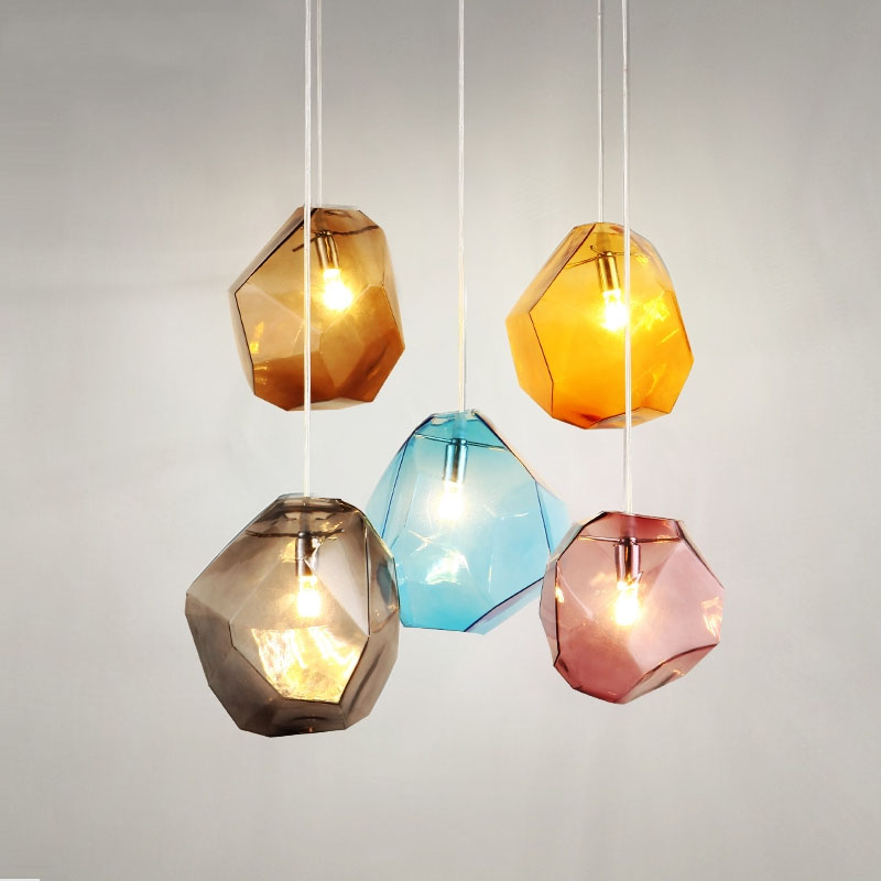 Modern Blown Geometrial Crystal Pendant Lighting