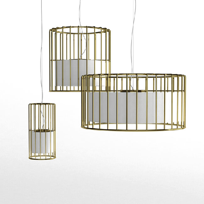 Modern Iron Cage and Flax Shade Inside Pendant Lighting