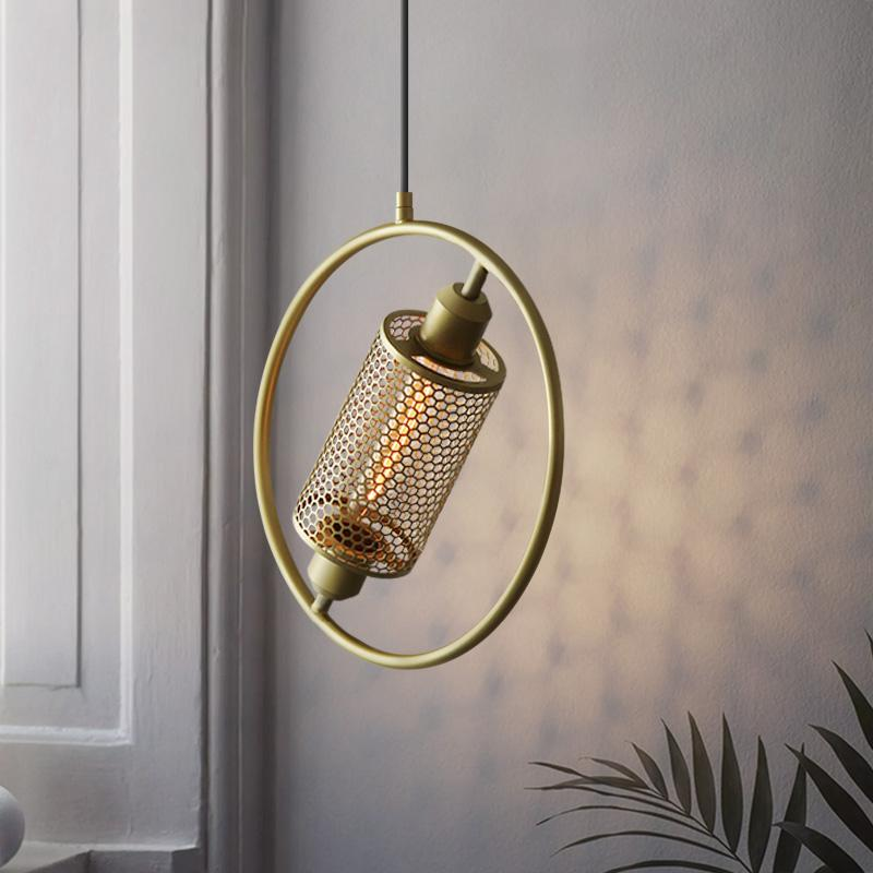 Minimalist Mesh Hoop Pendant Light Brass/Black