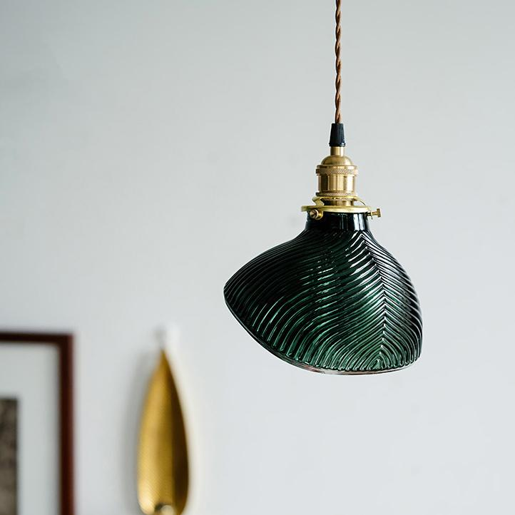 Emerald Fluted Glass Pendant Light