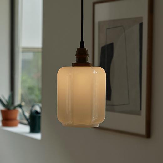 Art Deco Clarice Milk Glass Shade Brass Pendant Light