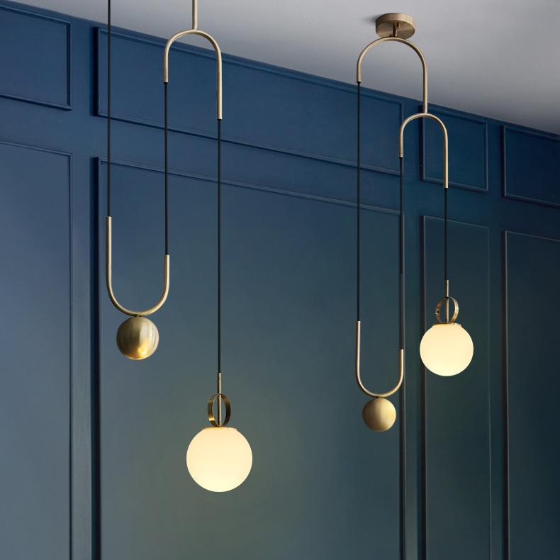 Cradle Brass mid century pulley pendant light
