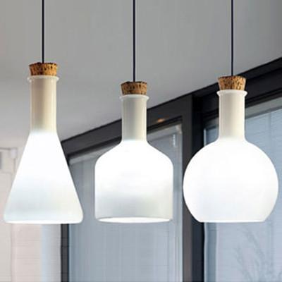 Lab White Glass Bottle Minimalist Pendant Light