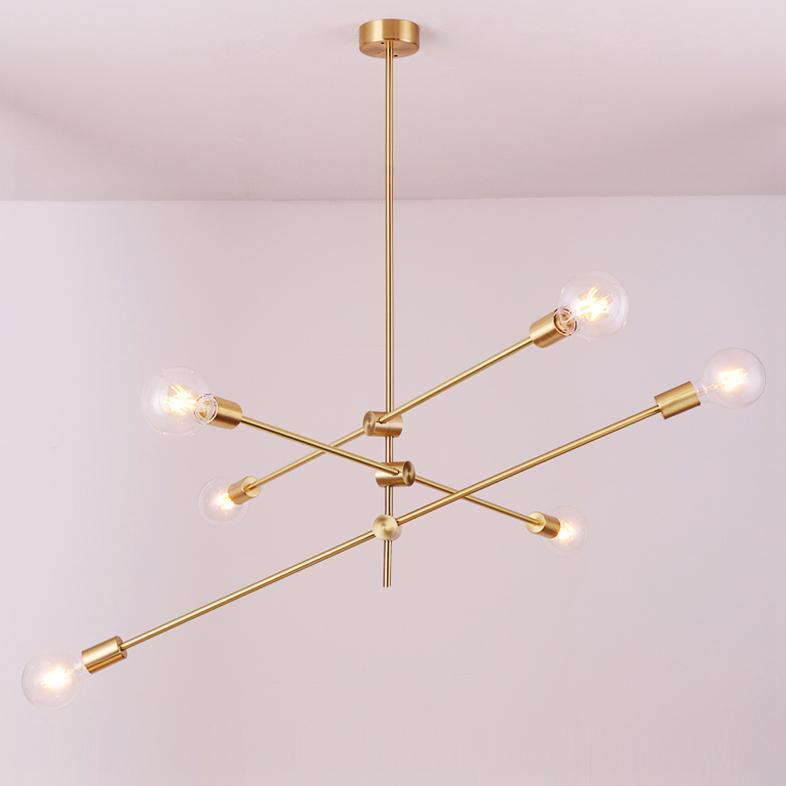 Circa Brass Mid century Pendant Light - 3 lines (6 heads)