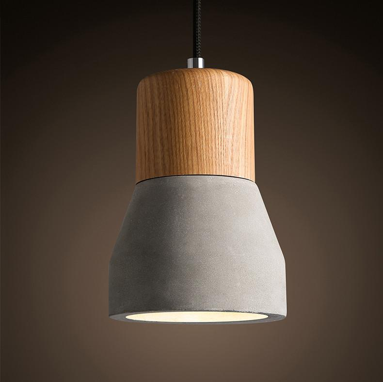 Concrete Wooden Minimalist Pendant Light